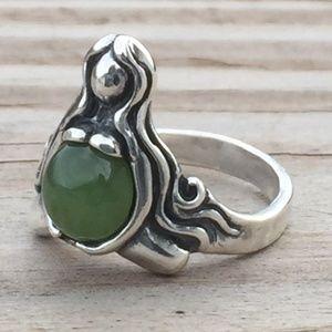 Goddess Abundance Ring Sterling Silver w/ Jade